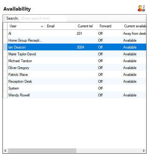 Availability page